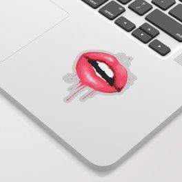 Pink Lips Watercolor Print Fashion Poster Art Lipstick Chic Make Up Sticker