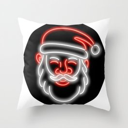 Santa Claus Neon Glowing Sign Circle Throw Pillow