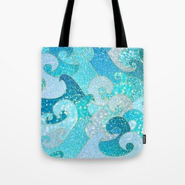 Mermaid Waves And Sea Faux Glitter - Sun Light Over The Ocean Tote Bag