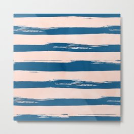 Trendy Stripes - Sweet Peach Coral on Saltwater Taffy Teal Metal Print