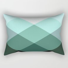 Teal Green Oxford Print Rectangular Pillow