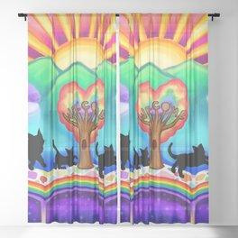 Cats Arrival at the Rainbow Bridge  Sheer Curtain