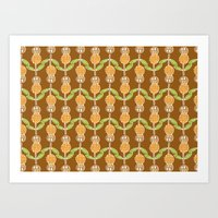 70s Art Prints featuring 70s Flowers by Apple Kaur