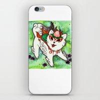okami iPhone & iPod Skins featuring Amaterasu from Okami 01 by Jazmine Phillips