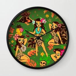 Tiki Temptress on Green Wall Clock