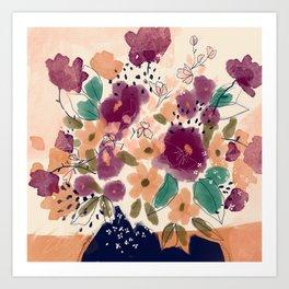 Autumn Folk Florals  Art Print