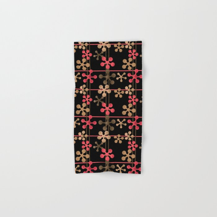 Abstract pattern in black red and brown tones . Hand & Bath Towel