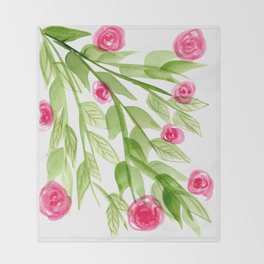 Pink Rosebuds in Watercolor Throw Blanket