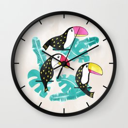 Watercolor toucan and leaves Wall Clock