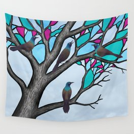 grackles in the stained glass tree Wall Tapestry
