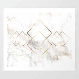 White Marble With Gold Pattern Art Print