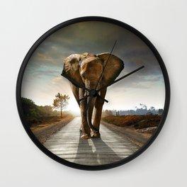Elephant Road Wall Clock