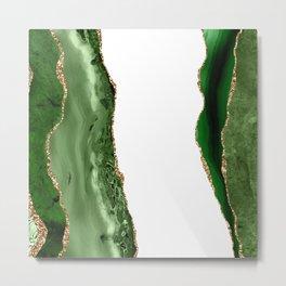 Beautiful Emerald And Gold Marble Design Metal Print