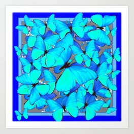 Shades of Turquoise Blue Butterflies Swarming Art Art Print