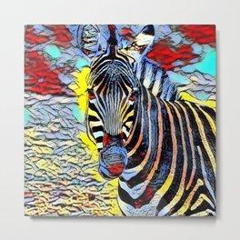 Color Kick -Zebra Metal Print