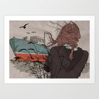 wanderlust Art Prints featuring Wanderlust by Ruth Veres
