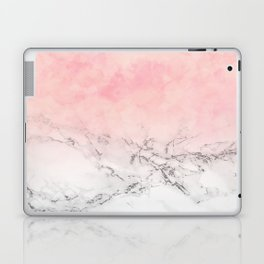 Modern blush pink watercolor ombre white marble Laptop & iPad Skin
