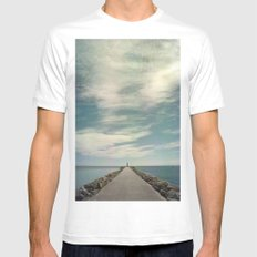 Long way to go White MEDIUM Mens Fitted Tee