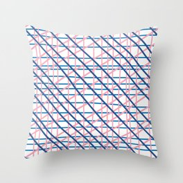 Texture lines pink and blue Throw Pillow