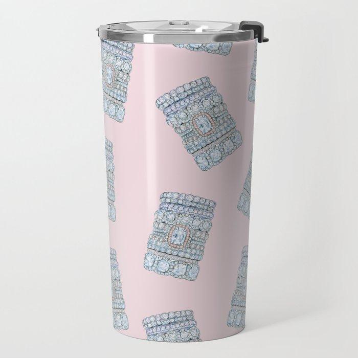 Diemond Rings on Light Pink Travel Mug