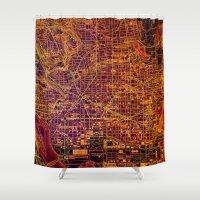 washington Shower Curtains featuring Washington orange by Larsson Stevensem