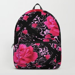 FUCHSIA PINK ROSE BLACK BROCADE GARDEN ART Backpack