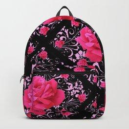 FUCHSIA PINK ROSE BLACK BROCADE GARDEN ART Backpack