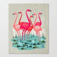 yetiland Canvas Prints featuring Flamingos by Andrea Lauren  by Andrea Lauren Design
