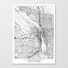 Portland Map White Canvas Print