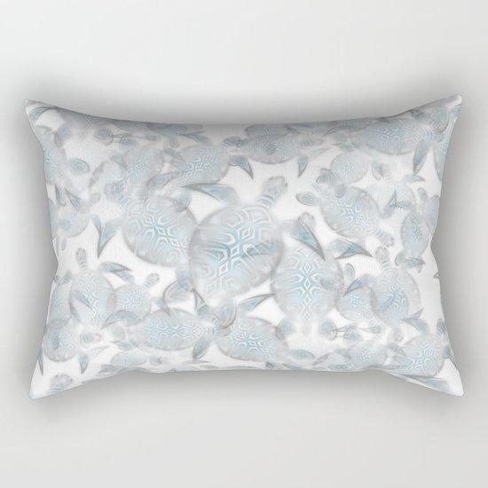 Silver Turtles Pattern Rectangular Pillow