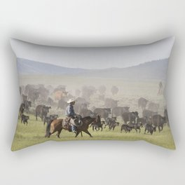 Ranch manager Mark Dunning oversees a roundup at the Big Creek cattle ranch near the Colorado border Rectangular Pillow
