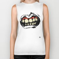 teeth Biker Tanks featuring TEETH! by Helena Bowie Banshees