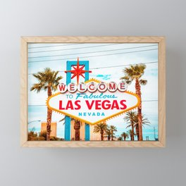 Classic view of Welcome to Fabulous Las Vegas sign on a beautiful sunny day with blue sky and clouds, Las Vegas, Nevada, USA Framed Mini Art Print