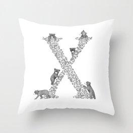 Bearfabet Letter X Throw Pillow