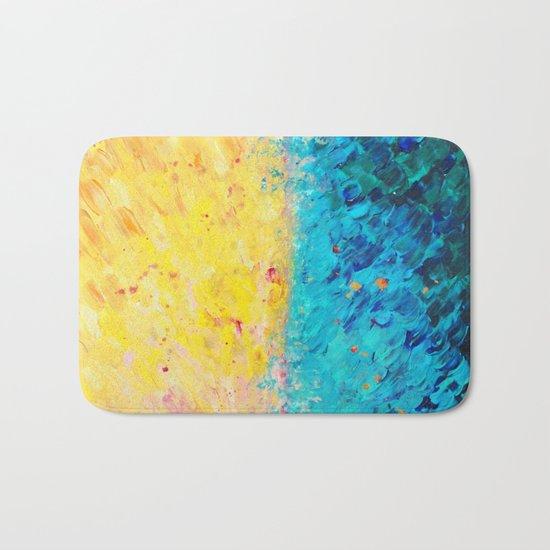 THE DIVIDE - Stunning Bold Colors, Ocean Waves Sun, Modern Beach Chic Theme Abstract Painting Bath Mat