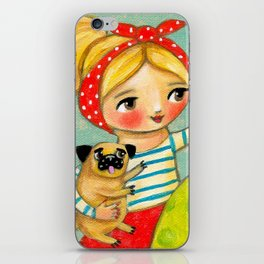 Record Player and Pug iPhone Skin