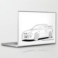 subaru Laptop & iPad Skins featuring Subaru Impreza 22B STI Type UK Line Illustration by Digital Car Art