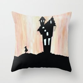 Little Red Riding Hood Enchanted House Fairy Tale Storybook Haunted house Spooky illustration Throw Pillow