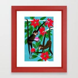 Spider Monkeys Holiday Card Framed Art Print