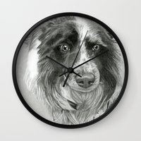 border collie Wall Clocks featuring Border Collie by Sarahphim Art