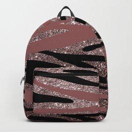 Modern black mauve pink rose gold glitter animal print Backpack