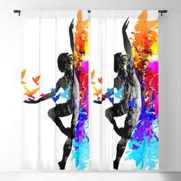Ballet dancer dancing with flying birds Blackout Curtain