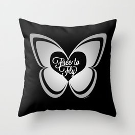 FREE TO FLY butterfly - silver Throw Pillow