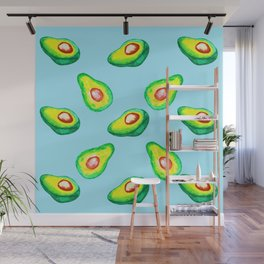 Cool Hipster Vintage Mod Delicious Watercolor Avocado Pattern Design Wall Mural