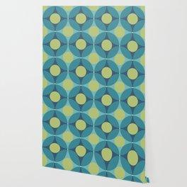 Geometric Circle Pattern Mid Century Modern Retro Blue Green Wallpaper