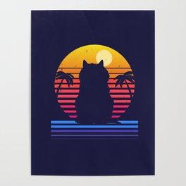 Island Cat Life Retro Aesthetic Poster