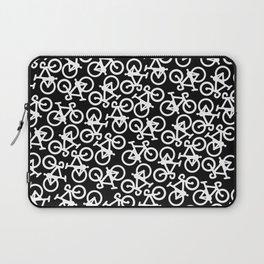 Black and White Bikes Pattern Laptop Sleeve