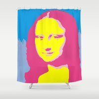 mona lisa Shower Curtains featuring Mona Lisa by Becky Rosen