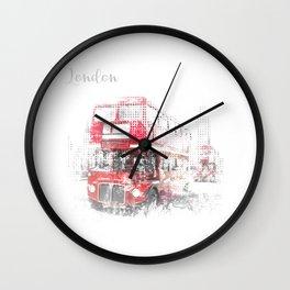 Graphic Art LONDON WESTMINSTER Street Scene Wall Clock