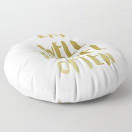Eat Well Travel Often Metallic Gold x White    Quote Floor Pillow